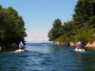 Cruising a scenic channel on Georgian Bay North Sea Doo Tour