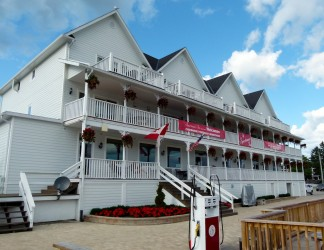 View of front of Sportsman's Inn, Killarney, Ontario Sea Doo Lodgings