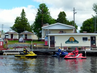 Waterfront docks at Vance's Resort, Spanish, Ontario Sea Doo Lodgings