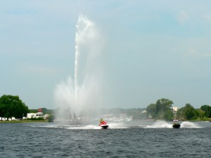 Running thru the fountain Little Lake, Peterborough on Trent Severn Waterway Sea Doo Tour