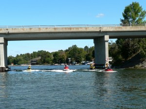Riding Under the Highway 7 bridge on Trent Severn Waterway Sea Doo Tour