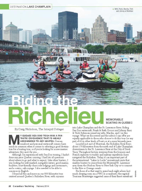 Richelieu River Sea Doo Tour Quebec Ride Planner